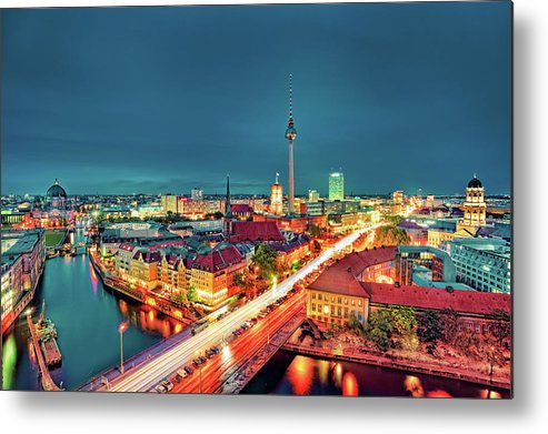 Alexanderplatz Metal Print featuring the photograph Berlin City At Night by Matthias Haker Photography