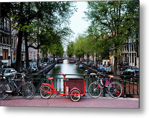 North Holland Metal Print featuring the photograph Bicycles Parked On Bridge Over by Jorg Greuel