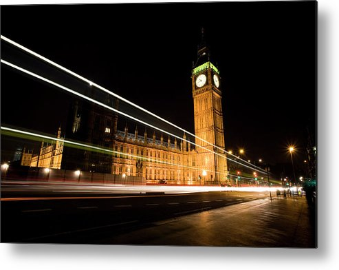 Clock Tower Metal Print featuring the photograph Big Ben At Night by Track5