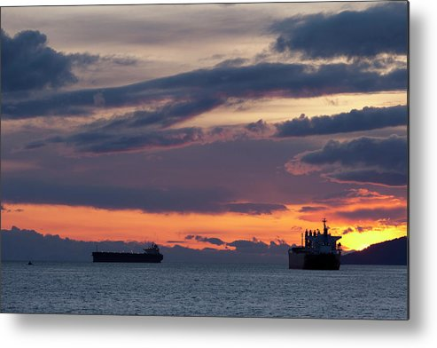 Scenics Metal Print featuring the photograph Big Boat Silhouettes by Visualcommunications