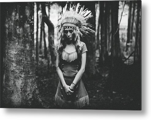 Indian Metal Print featuring the photograph Black And White Mood In The Forest by Bagasphotowork
