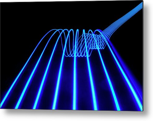 Laser Metal Print featuring the photograph Blue Abstract Coloured Lights Trails by John Rensten