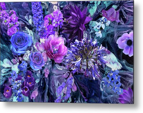 Flowers Metal Print featuring the digital art Blue And Purple Flowers by Lisa Yount