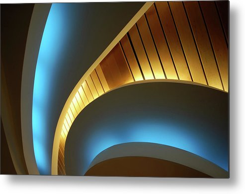 Curve Metal Print featuring the photograph Blue Swirl by Copyright Ralph Grunewald