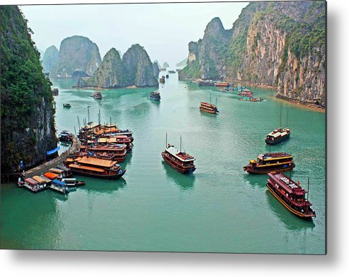 Tranquility Metal Print featuring the photograph Boats Of Halong Bay by Joe Regan