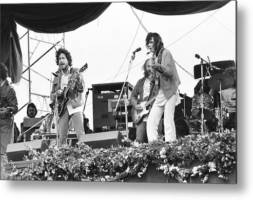 Charity Benefit Metal Print featuring the photograph Bob Dylan & Neil Young Performing At by Richard Mccaffrey