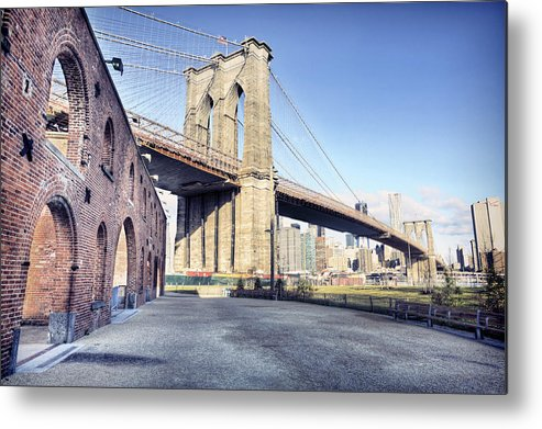 Lower Manhattan Metal Print featuring the photograph Brooklyn Bridge From Down Under by By Gene Krasko