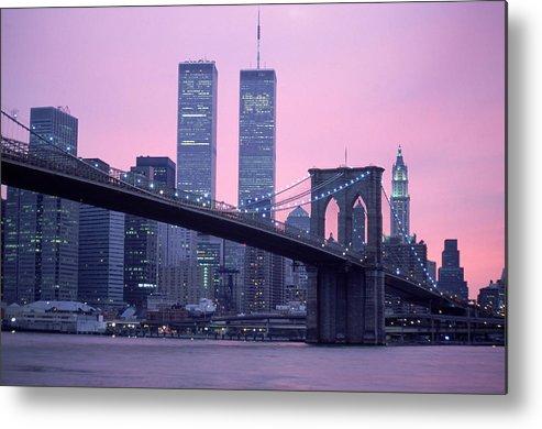 Dawn Metal Print featuring the photograph Brooklyn Bridge, Twin Towers, Nyc, Ny by Barry Winiker