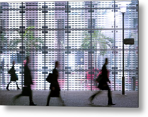 People Metal Print featuring the photograph Business People Passing Modern Office by Eschcollection