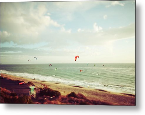 California Metal Print featuring the photograph California Tilt Shifted Kite Surfers by Kevinruss