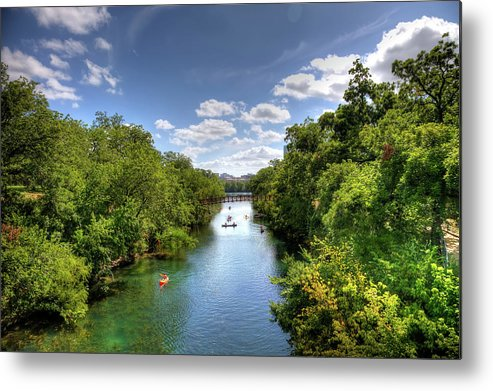 Recreational Pursuit Metal Print featuring the photograph Canoes On Town Lake In Downtown Austin by Metschan