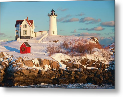 Snow Metal Print featuring the photograph Cape Neddick Nubble Light by Kickstand