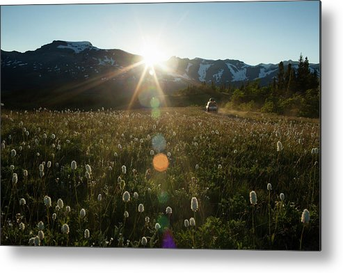 Scenics Metal Print featuring the photograph Car On Rural Dirt Road In Mountains At by Noah Clayton