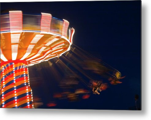 Blurred Motion Metal Print featuring the photograph Carnival Ride by By Ken Ilio