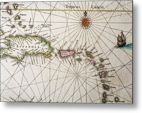 Engraving Metal Print featuring the digital art Carribean Islands by Goldhafen
