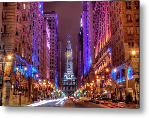 Land Vehicle Metal Print featuring the photograph Center City Philadelphia by Eric Bowers Photo