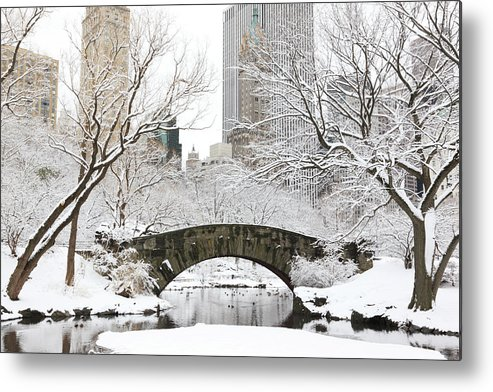 Snow Metal Print featuring the photograph Central Park, New York by Veni