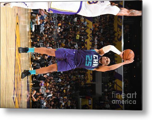 Nba Pro Basketball Metal Print featuring the photograph Charlotte Hornets V Los Angeles Lakers by Andrew D. Bernstein
