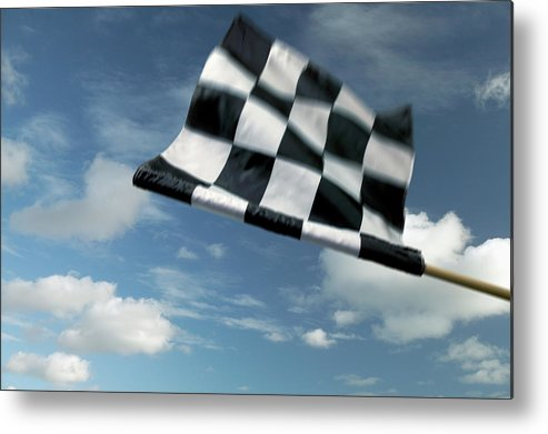 Working Metal Print featuring the photograph Checkered Flag by James W. Porter