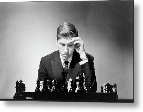 Chess Metal Print featuring the photograph Chess Champion Robert J. Fisher Playing by Carl Mydans