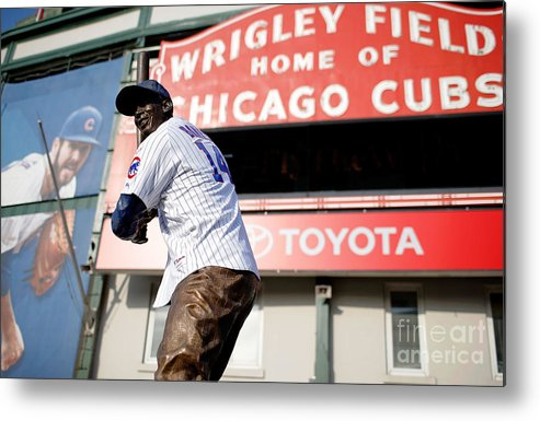 American League Baseball Metal Print featuring the photograph Chicago Cubs Fans Watch Wild Card Game by Jon Durr