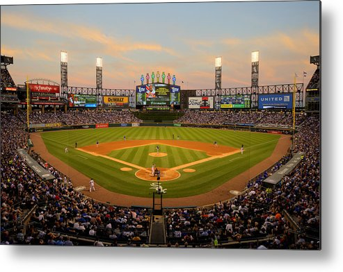 American League Baseball Metal Print featuring the photograph Chicago Cubs V Chicago White Sox by Ron Vesely