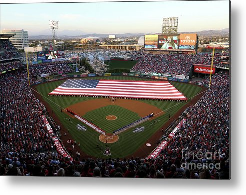 American League Baseball Metal Print featuring the photograph Chicago Cubs V Los Angeles Angels Of by Sean M. Haffey