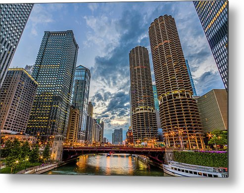 Chicago River Metal Print featuring the photograph Chicago River Sunset by Carl Larson Photography