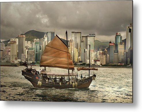 Sailboat Metal Print featuring the photograph China, Hong Kong, Junk Boat In Bay by Maremagnum
