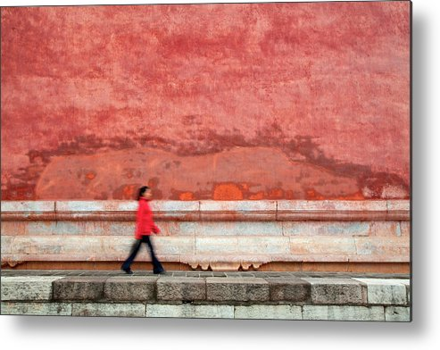 People Metal Print featuring the photograph Chinese Young Lady Walking By Monument by Grant Faint