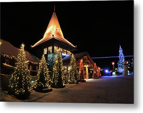 Holiday Metal Print featuring the photograph Christmas Decorated Town by Csondy
