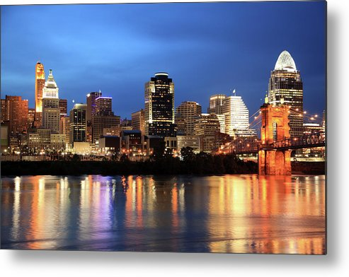 Downtown District Metal Print featuring the photograph Cincinnati Skyline, Ohio by Veni