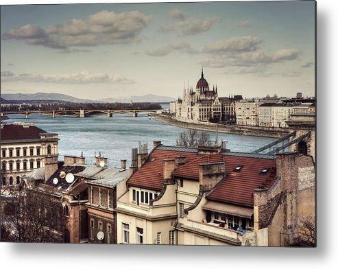 Tranquility Metal Print featuring the photograph Cityscape Of Budapest by By Matthew Heptinstall