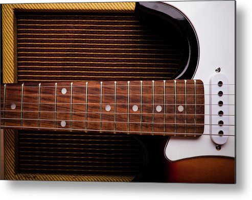 Rock Music Metal Print featuring the photograph Classic Electric Guitar And Amp Still by Halbergman