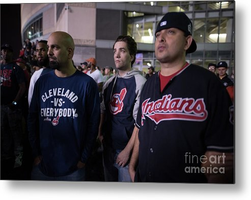 Facial Expression Metal Print featuring the photograph Cleveland Indians Fans Gather To The by Justin Merriman