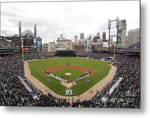 American League Baseball Metal Print featuring the photograph Cleveland Indians V Detroit Tigers by Gregory Shamus