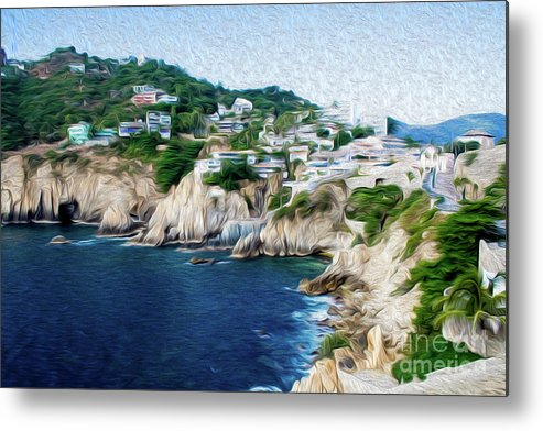 Cliffs In Alcapulco Metal Print featuring the digital art Cliffs in Acapulco Mexico I by Kenneth Montgomery