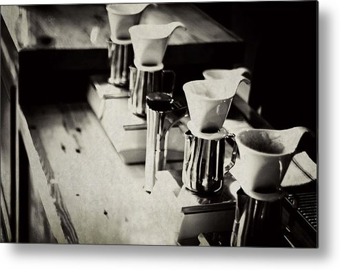 Retail Metal Print featuring the photograph Coffee Shop by Hilde Wegner . Photography
