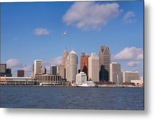 Downtown District Metal Print featuring the photograph Cold Detroit by Corfoto