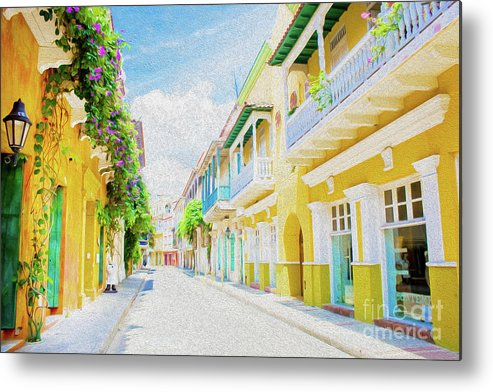 Cartagena Metal Print featuring the digital art Colonial Street - Cartagena de Indias, Colombia by Kenneth Montgomery