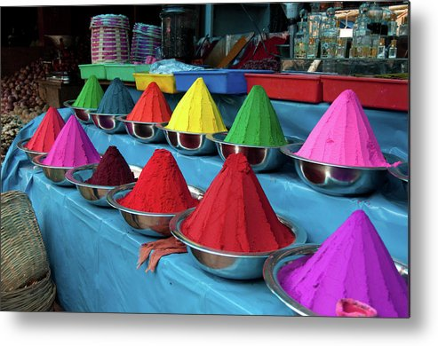 In A Row Metal Print featuring the photograph Colorful Dyes At Indian Market by Photo By Meredith Narrowe