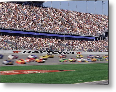 Event Metal Print featuring the photograph Crowd At Car Race by William R. Sallaz