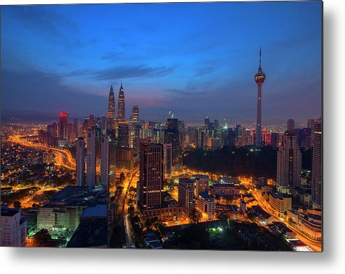 Dawn Metal Print featuring the photograph Dawn Of A New Day In Kuala Lumpur by Copyright © 2013 Nur Ismail Photography.all Rights Reserved