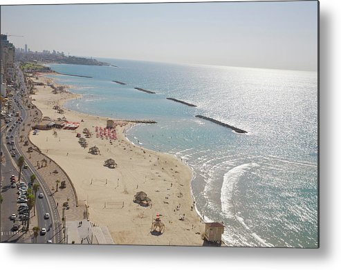Tranquility Metal Print featuring the photograph Day View Of Tel Aviv Promenade And Beach by Barry Winiker
