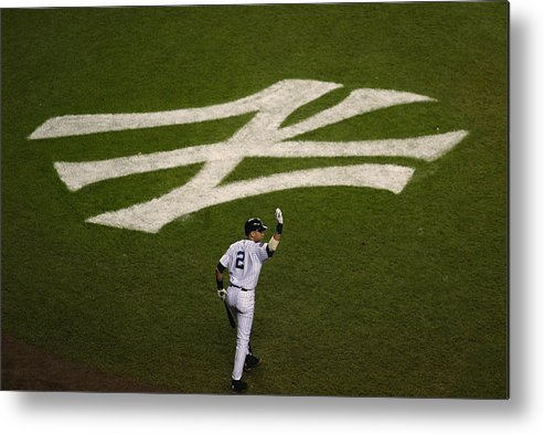 Derek Jeter Metal Print featuring the photograph Derek Jeter Walks To The Plate by Jed Jacobsohn