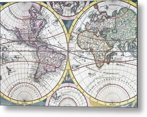 Engraving Metal Print featuring the digital art Detail Copper Engraving Of World Map by Grafissimo