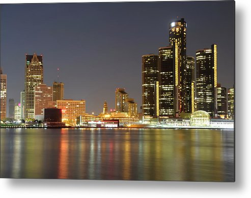 Downtown District Metal Print featuring the photograph Detroit Skyline At Night by Rivernorthphotography