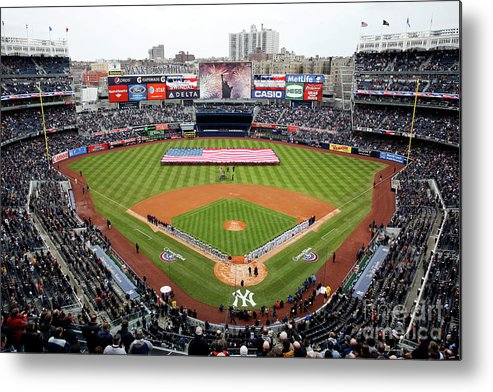 Topics Metal Print featuring the photograph Detroit Tigers V New York Yankees by Jeff Zelevansky