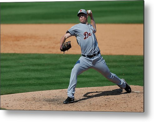American League Baseball Metal Print featuring the photograph Detroit Tigers V St Louis Cardinals by Stacy Revere