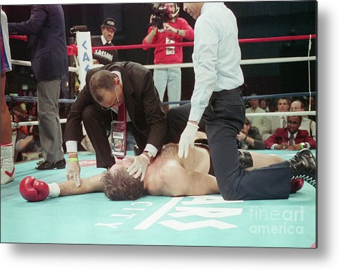 People Metal Print featuring the photograph Doctor Checks Gerry Cooney Who Is Kod by Bettmann